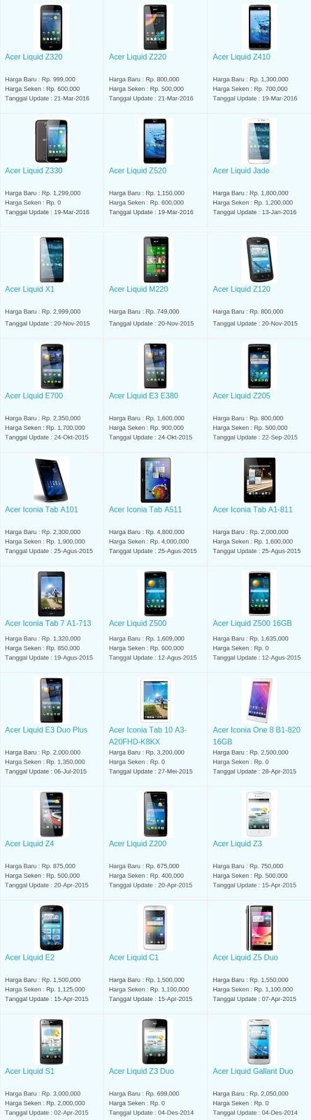 Daftar Harga Terbaru Hp Acer April 2016