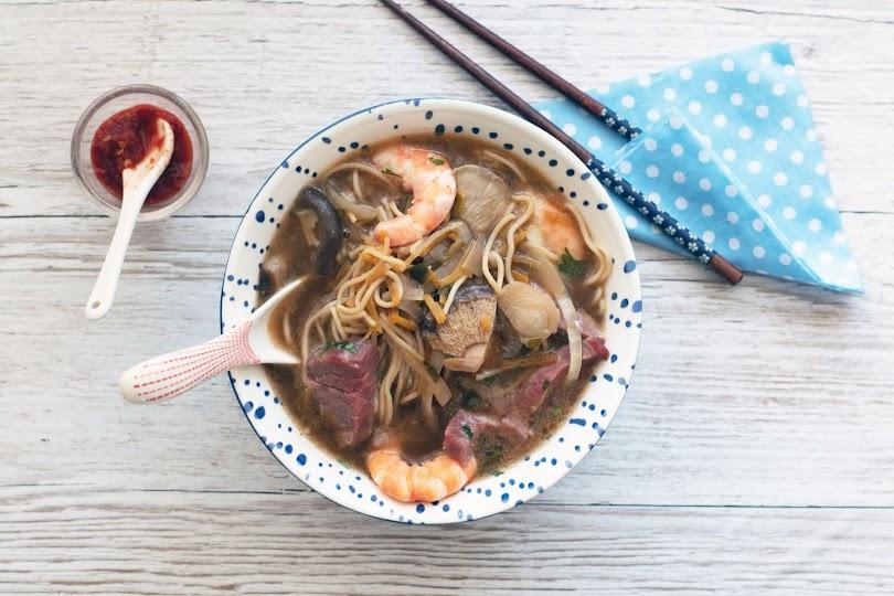 recette Bouillon de crevettes et boeuf
