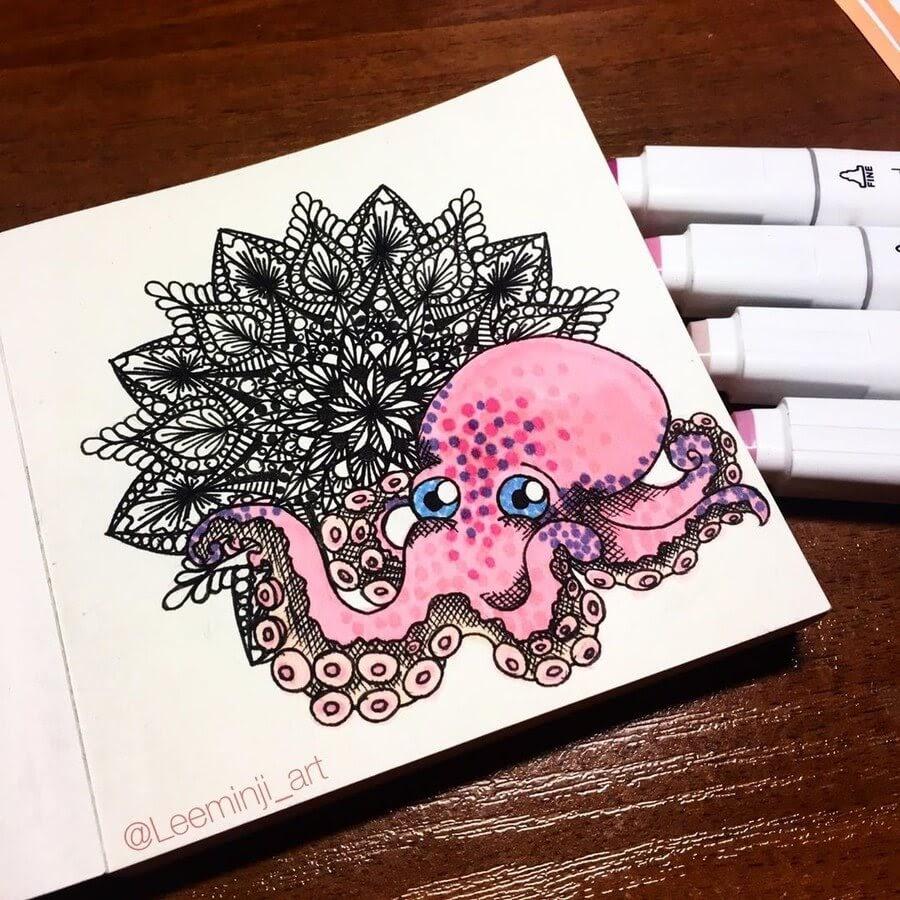07-Pink-Octopus-Lidiia-Varichenko-www-designstack-co