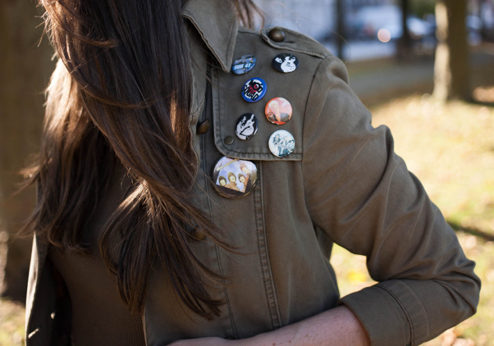 military jacket, band pins