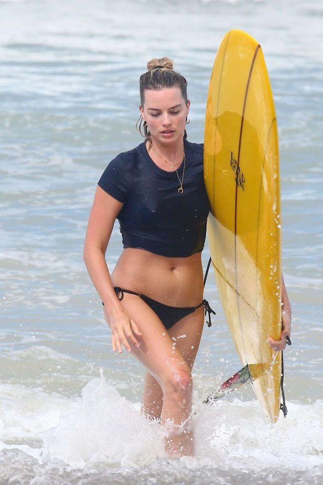 Margot Robbie in Bikini Bottoms on the beach in Costa Rica