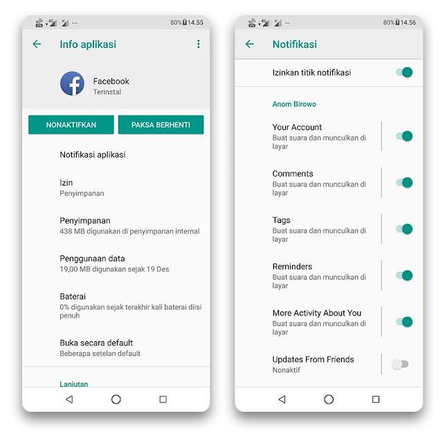 Menonaktifkan Notifikasi Facebook dari Setelan Android