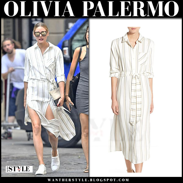 Olivia Palermo in striped belted midi dress chelsea 28 and white sneakers kenneth cole what she wore