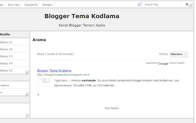 google özel arama kutusunun blog üzerinde önizlemesi