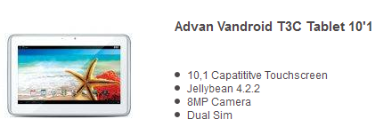 Harga Tablet Advan Vandroid T3C