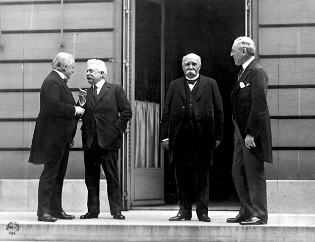 Council of Four at the WWI Paris peace conference, May 27, 1919. Prime Minister David Lloyd George (Great Britian) Premier Vittorio Orlando, Italy, French Premier Georges Clemenceau, President Woodrow Wilson