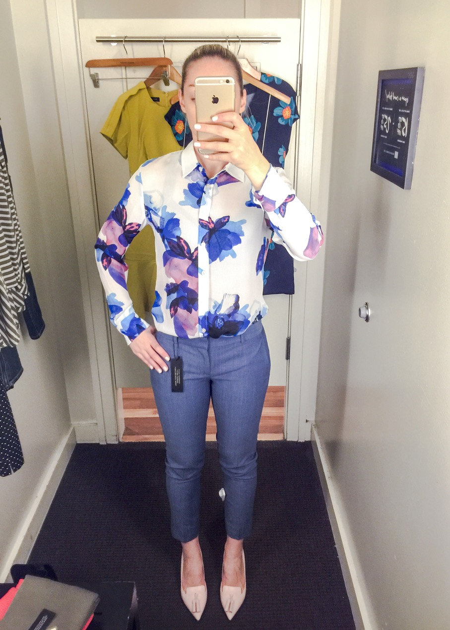 7f270d23ffdc Next I tried the Dillon-Fit Watercolor Floral Shirt in regular XS (the  store I visited did not have petite sizes for me to compare), the Avery-Fit  Chambray ...