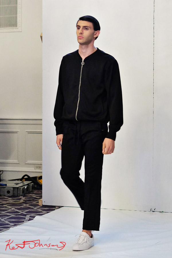 Black men's jacket and pants, Streetwear Label  Finesse UK at Bracé NYFW. Photographed by Kent Johnson.