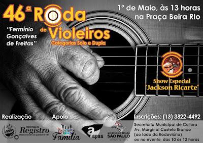 46ª Roda de Violeiros será na Praça Beira Rio em Registro-SP