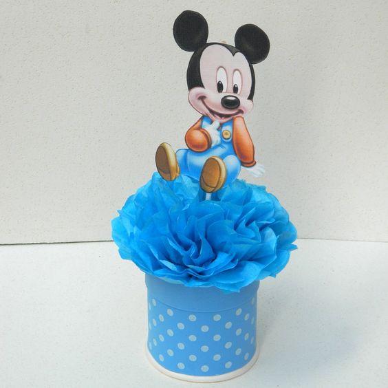 4a2c5f4b2 Tutorial haz hermosos centros de mesa de baby Minnie Mouse y Mickey mouse.  Bandejas para los bocaditos - Minnie Mouse