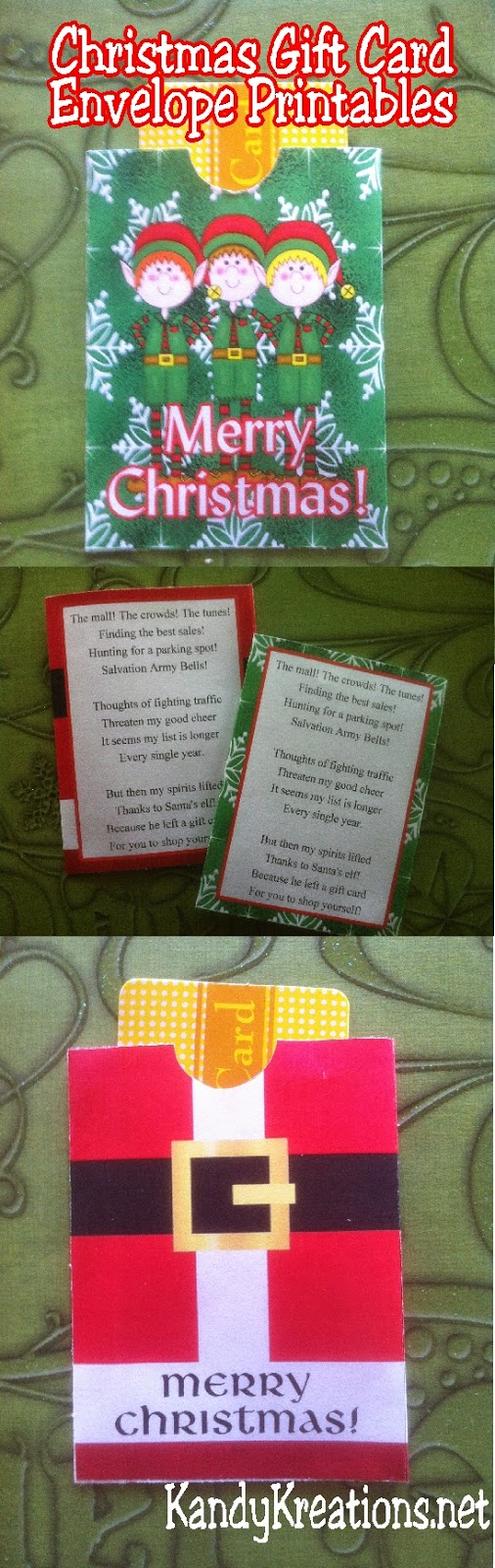 Everyone loves to receive gift cards at Christmas, but they aren't much fun to give.  Solve that problem with these cute Christmas gift card envelopes.  With this free printable you can print your own gift card envelopes with a cute Christmas poem and design so everyone will be happy! #giftcard #printable #christmasgift #diypartymomblog