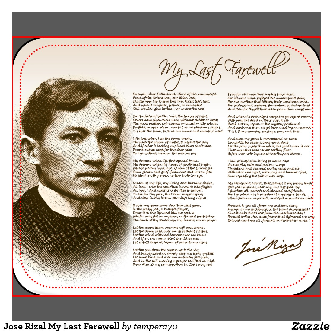 3rd stanza in my last farewell by jose rizal Rizal monument bantayog ni jose rizal: (my last farewell) becoming the major ingredient of bronze in the late 3rd millennium bc.