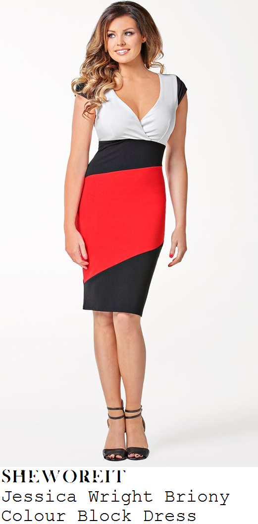8453e9eac0815 Jessica Wright's Jessica Wright Briony Black, Red & White Colour Block  Panel Cap Sleeve Wrap Front Tailored Knee Length Pencil Dress