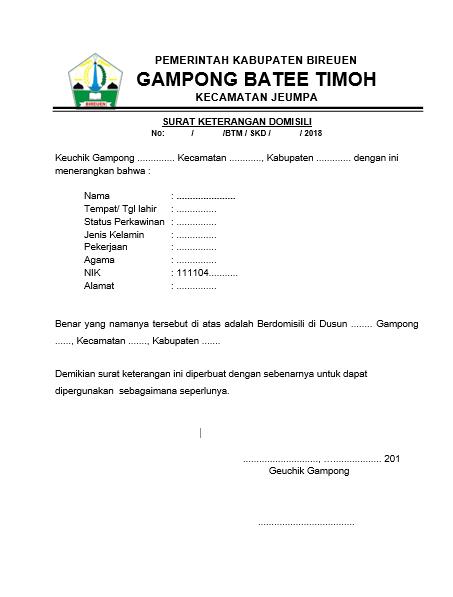 Contoh Surat Keterangan Domisili Format Word Desa Batee Timoh