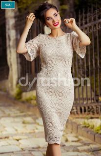 Rochie eleganta cu dantela bej -comanda online aici