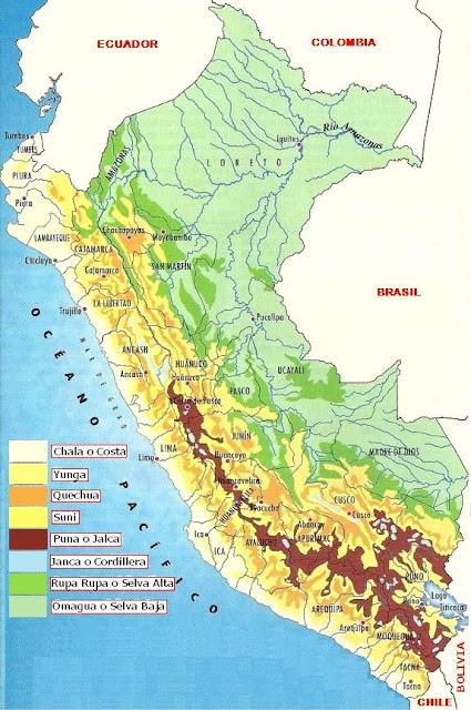 Dibujo del Mapa de las Ocho Regiones Nacionales del Perú o Mapa de las 8 Regionales Naturales Peruanas