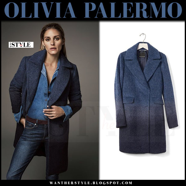Olivia Palermo in navy ombre wool coat, denim shirt and dark jeans banana republic holiday collection picks what she wore