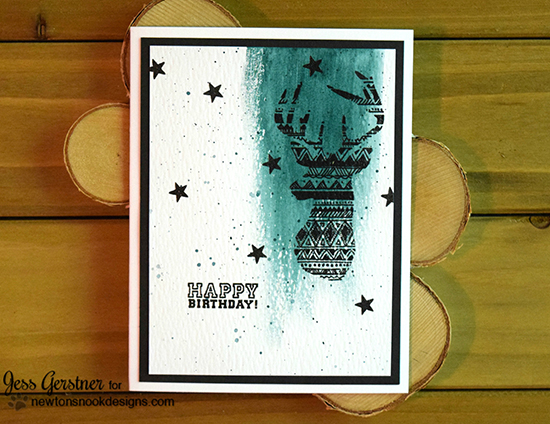 Happy Birthday Deer card by Jess Gerstner | Adventure Awaits stamp set by Newton's Nook Designs #newtonsnook