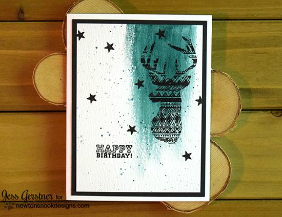 Happy Birthday Deer card by Jess Gerstner | Adventure Awaits stamp set by Newton's Nook Designs #newtonsnook