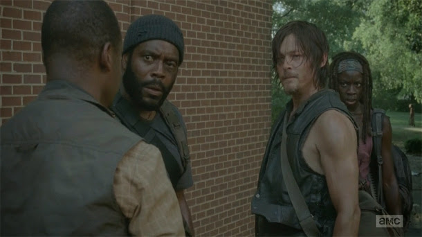 Daryl, Michonne, Tyreese y Bob en The Walking Dead 4x04 - Indifference