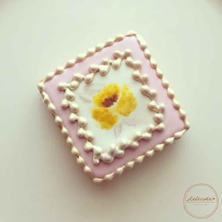 natural food colouring painted yellow rose cookies with gold painting