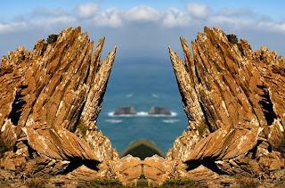The feminist sign in the petrified forest of San Andres de Teixido, discovered and developed by Munimara value, abstract surreal photography North, Cedeira, La Coruna, Galicia, Spain