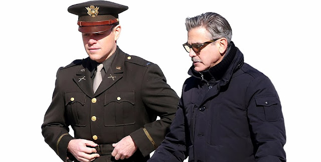 Matt Damon şi George Clooney în filmul The Monuments Men