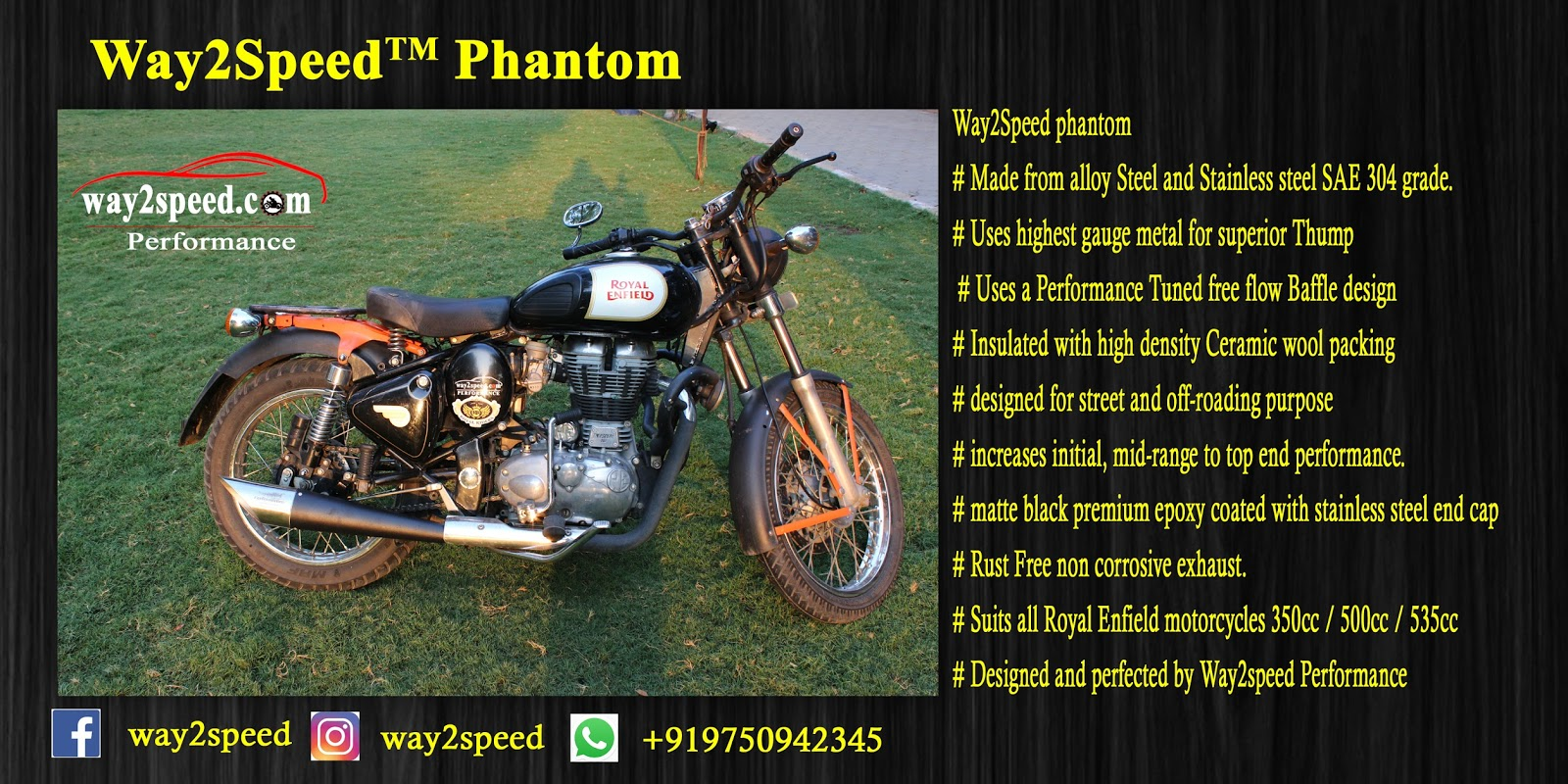 Way2speed Phantom Exhaust For Royal Enfield