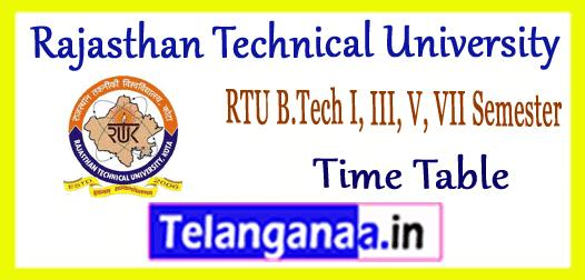 RTU Rajasthan Technical University B.Tech 1st 3rd 5th 7th Semester Time Table