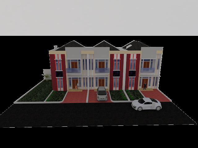 Cara gambar Town house