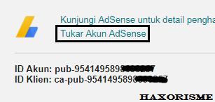 Tukar Akun Adsense