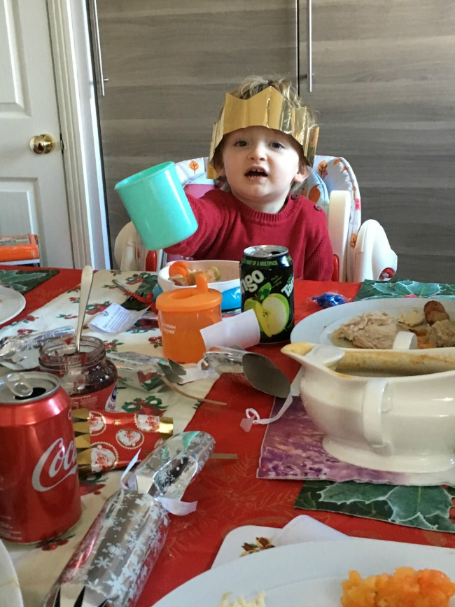 Bears-Boxing-day-christmas-toddler-at-table-with-plastic-cup-saying-cheers