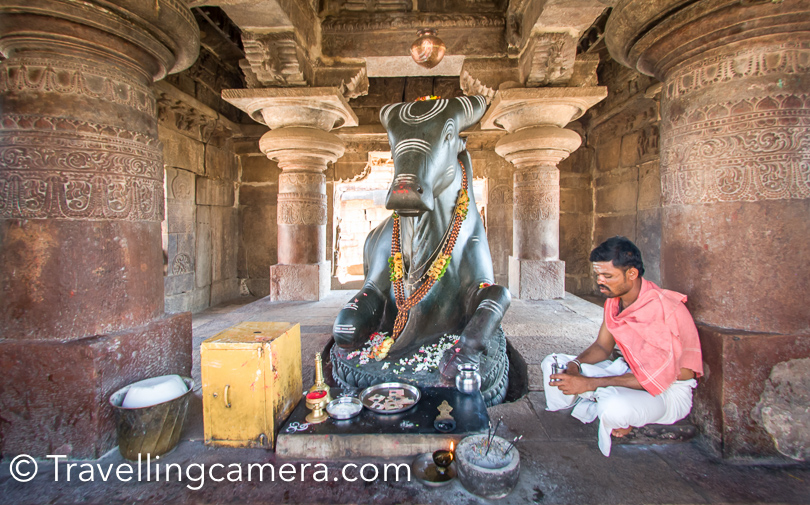 Here is one place inside Pattadakal Temple complex where worship happens. One needs to take off the shoes to visit this Temple, otherwise one can visit other temples in the complex with shoes.