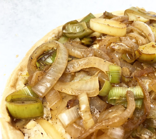 Close-Up of Unbaked Onion and Leek Tart