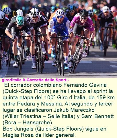 GAVIRIA TRIUNFA EN LA ETAPA 5 DEL GIRO D'ITALIA