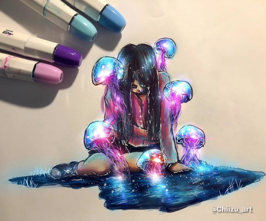 06-Overwhelming-chiizu-art-Drawing-Dark-Subjects-Bursting-with-Color-www-designstack-co