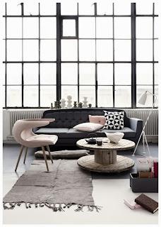diseño sala gris y rosa