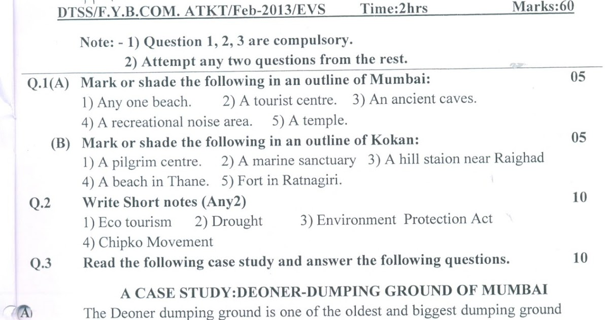 Question Papers Collection: ATKT FYBCOM (EVS)