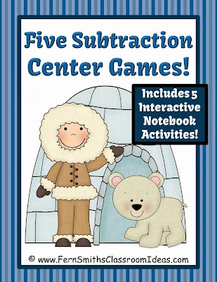 http://www.teacherspayteachers.com/Product/Winter-Subtraction-Centers-and-Interactive-Notebook-Activities-995129