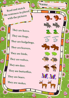 forest animals plural worksheet for education English