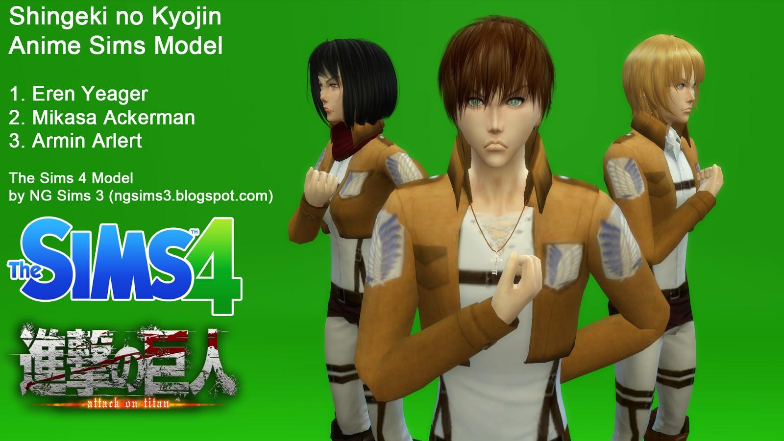 Ng Sims 3 Attack On Titan Eren Mikasa Amp Armin Ts4 Sims