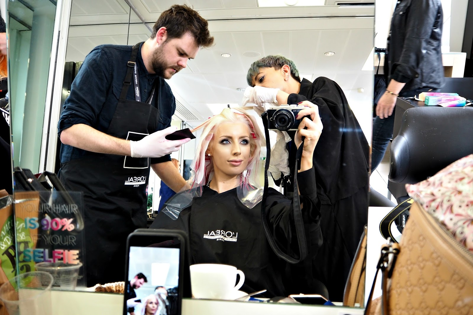 getting my hair done by Will and Lara from Electric London salon