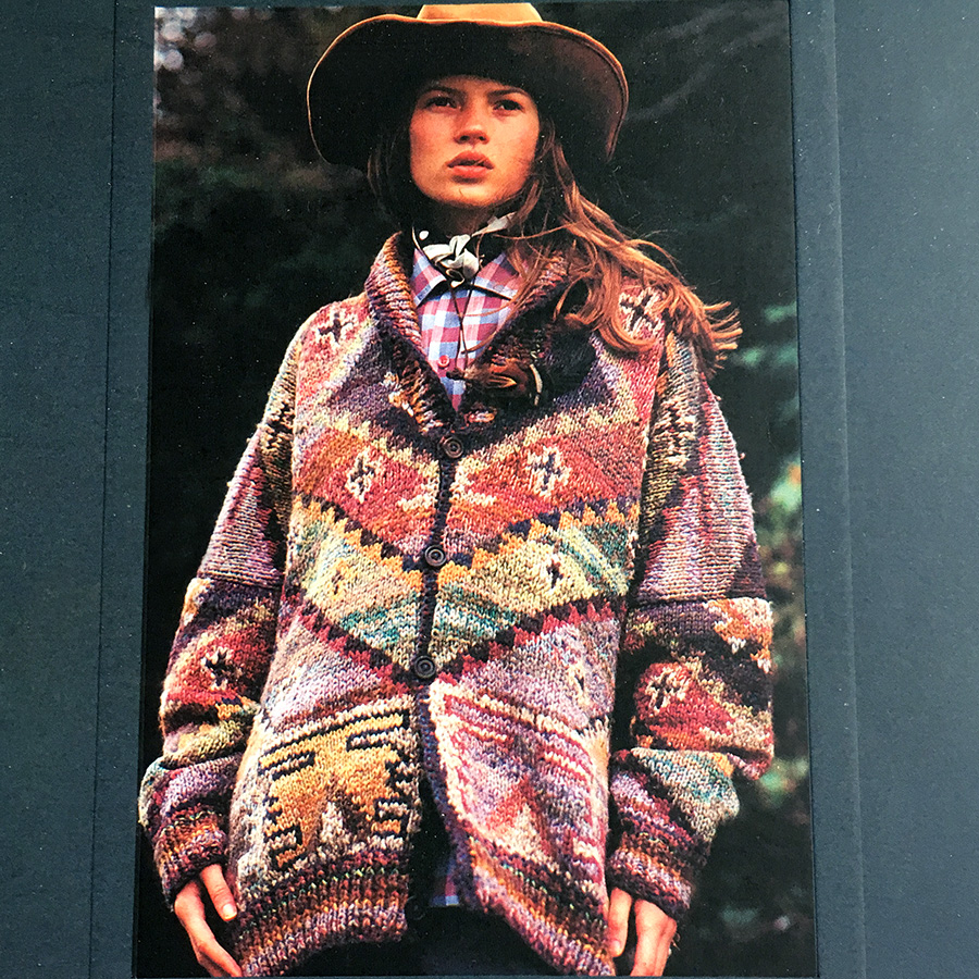 Kilim by Kaffe Fassett, Rowan Magazine 10, modeled by Kate Moss