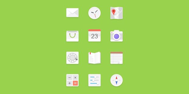 Bright Android Flat Icon Set