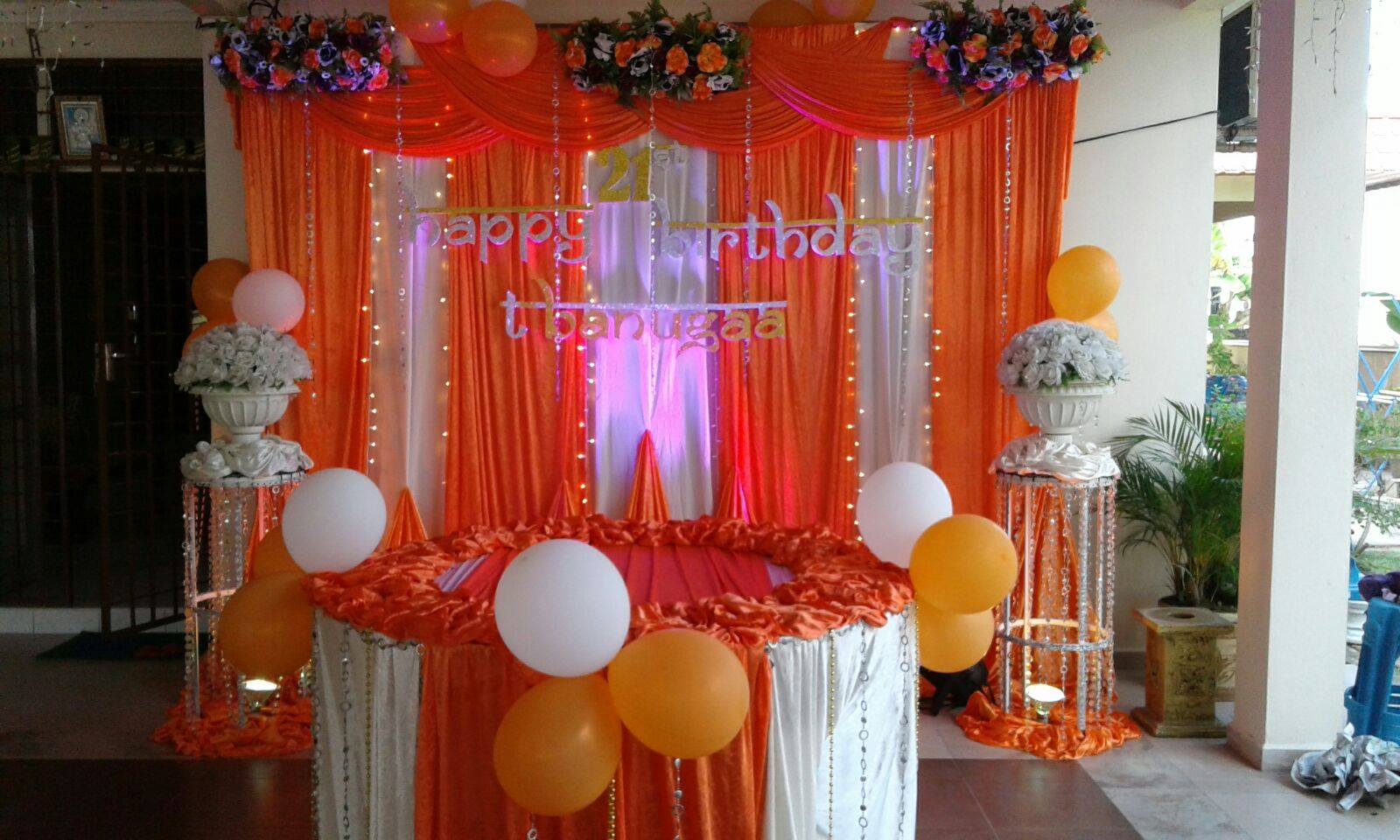 Kisha mega events 21st birthday decoration orange white for 21st birthday decoration ideas