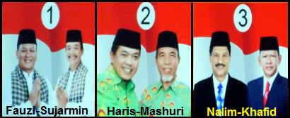 Tiga pasang calon bupati dan wakil bupati kabupaten Merangin 2018