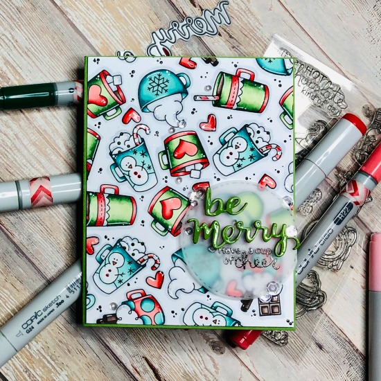 Cups of Cheer Card by November Guest Designer Kelli Cool | Cup of Cocoa Stamp Set and Holiday Greetings Die Set by Newton's Nook Designs #newtonsnook #handmade