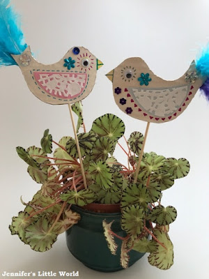 Decorative bird planter sticks craft