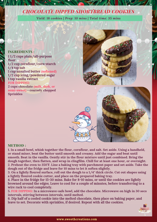 CHOCOLATE DIPPED SHORTBREAD COOKIES RECIPE