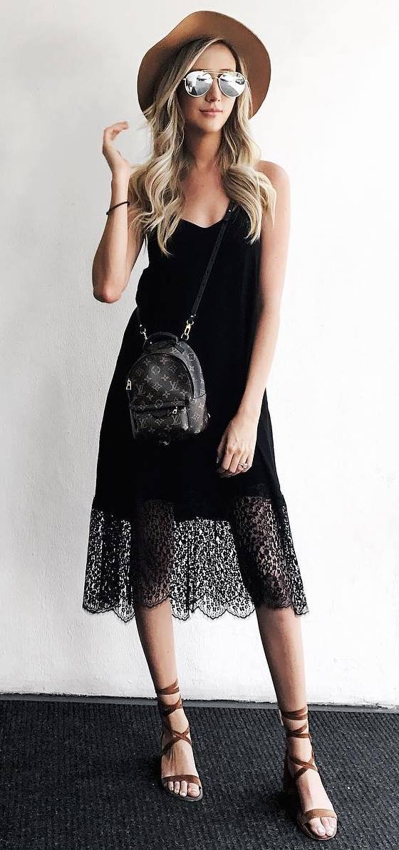 fashionable outfit idea with a hat: black dress + bag + sandals